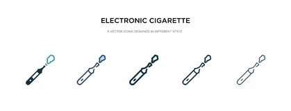 Electronic Cigarette Icon In Different Style Vector Illustration. Two Colored And Black Electronic Cigarette Vector Icons Designed Royalty Free Stock Images