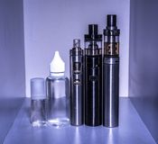 Cigarette. Electronic cigarette kit for vaping Stock Image