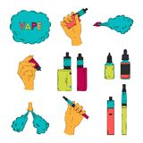 Electronic cigarette, liquid and cloud of steam. Vape collection. Isolated elements. Vector illustration Royalty Free Stock Images