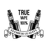 Electronic cigarette and liquid, Vape shop vector monochrome badges, emblems Royalty Free Stock Images