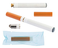 Electronic cigarette with parts isolated on white Royalty Free Stock Image