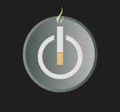 Electronic Cigarette Power Button Vector Illustration. Power Button symbol with cigarette on the center. E-cigar conceptual image vector and jpg stock illustration