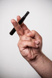 Electronic cigarette and a real cigarette Stock Photo