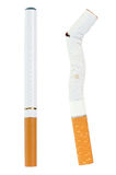 Electronic cigarette and a real one Royalty Free Stock Image