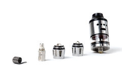 Electronic cigarette tank and coils. RDA tanks, coils and atomizers Stock Photo