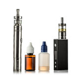 Electronic cigarettes collection isolated on white.  stock photography
