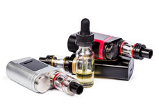 Electronic cigarettes collection on white Stock Photos
