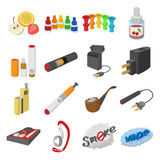Electronic cigarettes icons cartoon. Electronic cigarettes cartoon icons set  on white background Royalty Free Stock Photos