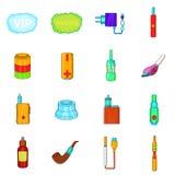 Electronic cigarettes icons set, cartoon style. Electronic cigarettes icons set in cartoon style  on white background Stock Photo