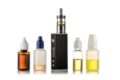 Electronic cigarettes isolated on white.  royalty free stock photos