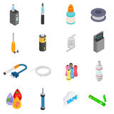 Electronic cigarettes isometric 3d icons. Set isolated on white background Stock Photos