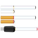 Electronic Cigarettes. A set of two different colored electronic cigarettes (aka e-cigs) with a cartomizer and USB charger vector illustration
