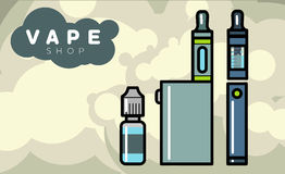 Electronic cigarettes vaporizers with liquid. Electronic cigarettes vape vapor vaporizers Vector illustration Stock Photography