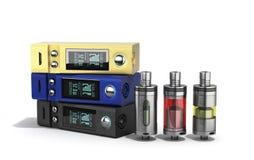Electronic cigaretts Device box mod to smokeless smoking 3d rend. Er on white Stock Photo