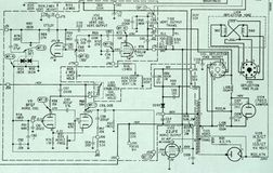 Electronic Circuit Schematic Detail Diagram. Image of an electronic circuit schematic diagram. Circuitry shown is a portion of a retro television. Nice graphic Royalty Free Stock Image