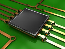Electronic circuit. 3d illustration of electronic chip and circuit with green background Stock Photography