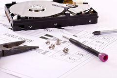 Electronic Circuit And Tools Stock Photography