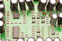Electronic circuit board. Microchips mounted in an electronic circuit board royalty free stock image