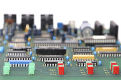 Electronic circuit board. Detail of electronic circuit board royalty free stock image