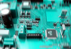 Electronic circuit board. With components stock images