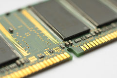 Electronic circuit board. Close-up of a ram circuit board from a computer Stock Image