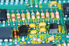 Electronic circuit board. Close up view of a computer circuit board Royalty Free Stock Images