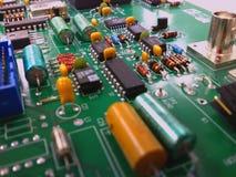 Electronic circuit board. Platine mit den Bauelementen Stock Images