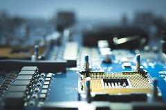 Free Electronic Circuit Board Background. Technology Style Information Abstract Concept Semiconductor Motherboard Computer Blue Design Royalty Free Stock Photos - 117236818