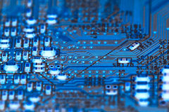 Electronic circuit board blue-green Royalty Free Stock Photos