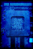 Electronic circuit board blue grunge background Royalty Free Stock Photos