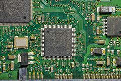 Electronic circuit board. Chip and mainboard Stock Photography