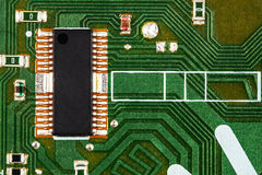Electronic circuit board with chip and radio components Royalty Free Stock Image