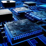 Electronic Circuit Board With Chips Stock Photo