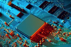 Electronic circuit board close up. royalty free stock photography