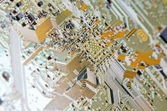 Electronic circuit board close up. Royalty Free Stock Photos
