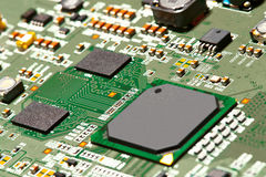 Electronic circuit board close up. Royalty Free Stock Images