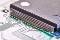 Electronic circuit board close up. High tech circuit board. royalty free stock image