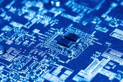 Electronic circuit board close up stock image