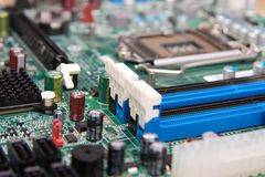 Electronic circuit board in computer Stock Images
