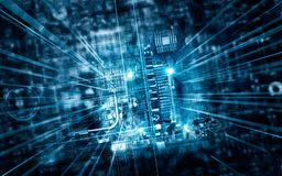 Electronic circuit board in futuristic server code processing. Electronic circuit board futuristic server code processing and abstract computer hardware Stock Illustration