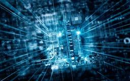 Electronic circuit board in futuristic server code processing. Electronic circuit board futuristic server code processing and abstract computer hardware stock illustration