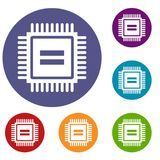Electronic circuit board icons set Royalty Free Stock Photo