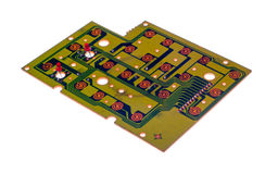 Electronic circuit board isolated on a white Royalty Free Stock Photo