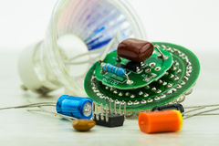 Electronic circuit board LEDs and various spare parts Stock Image