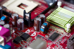 Electronic circuit board. Macro Royalty Free Stock Photos