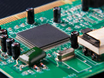 Electronic circuit board with microchip. Close-up of electronic circuit board with microchip Stock Photos