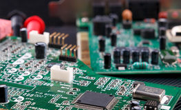 Electronic circuit board with microchip. Close-up of electronic circuit board with microchip Stock Photography