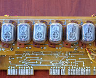 Electronic circuit board with old style indicator tubes Royalty Free Stock Images