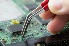 Electronic circuit board. Printed circuit board with surface mount electronic components Stock Photo