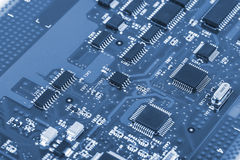 Electronic circuit board with processor Royalty Free Stock Image
